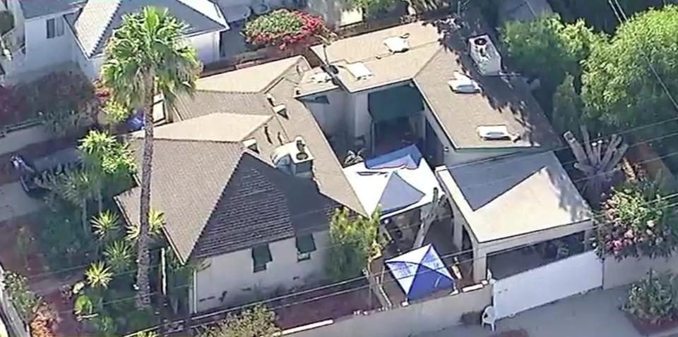 A video screengrab shows the home of a man in the Encino neighborhood of Los Angeles who allegedly threatened to kill Boston Globe employees after the Globe launched a national newspaper campaign in support of the free press and the First Amendment. (KABC-TV Los Angeles)